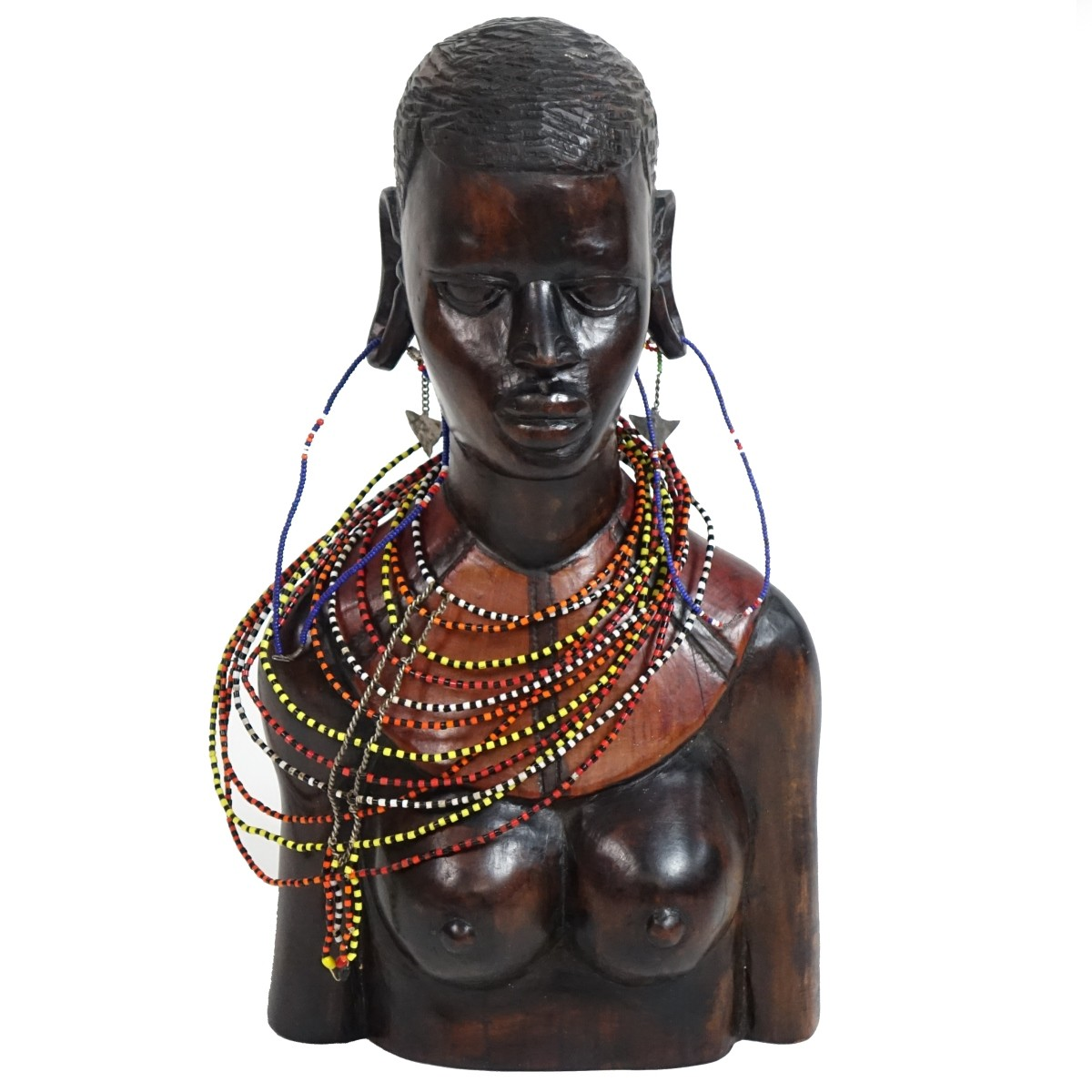 Large African Hand Carved Female Bust