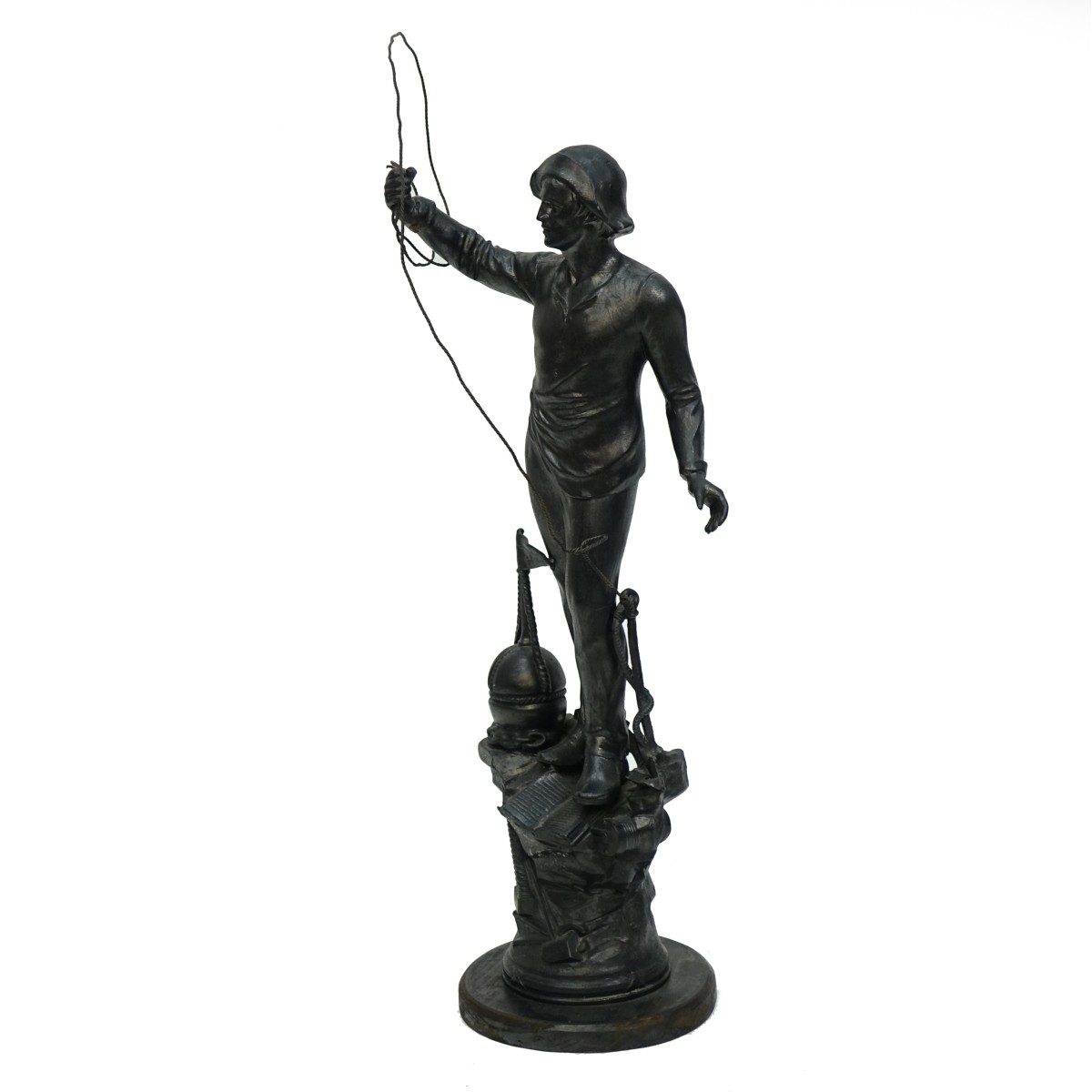 Large 20th C. Spelter Sculpture of a Fisherman