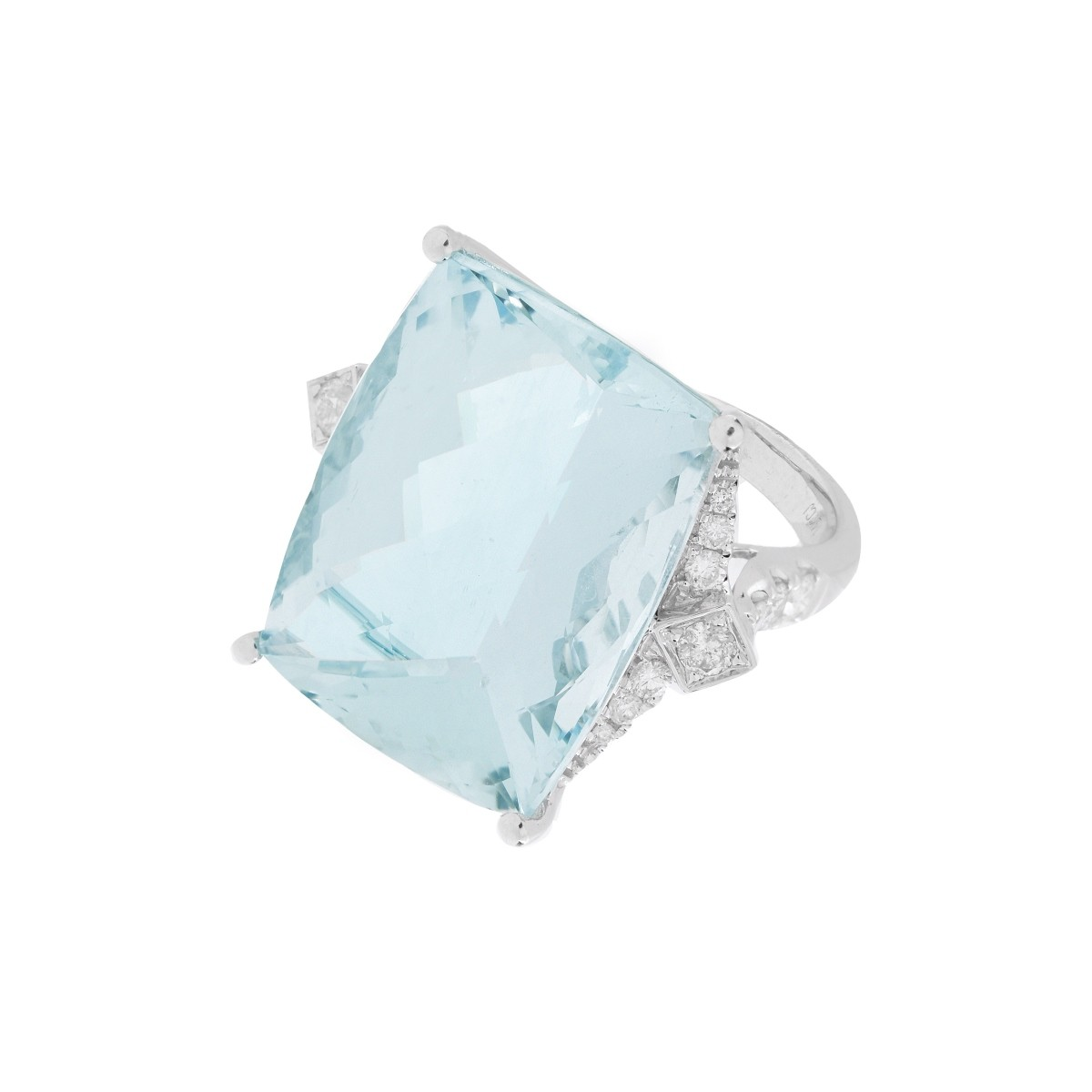 Aquamarine, Diamond and 14K Ring