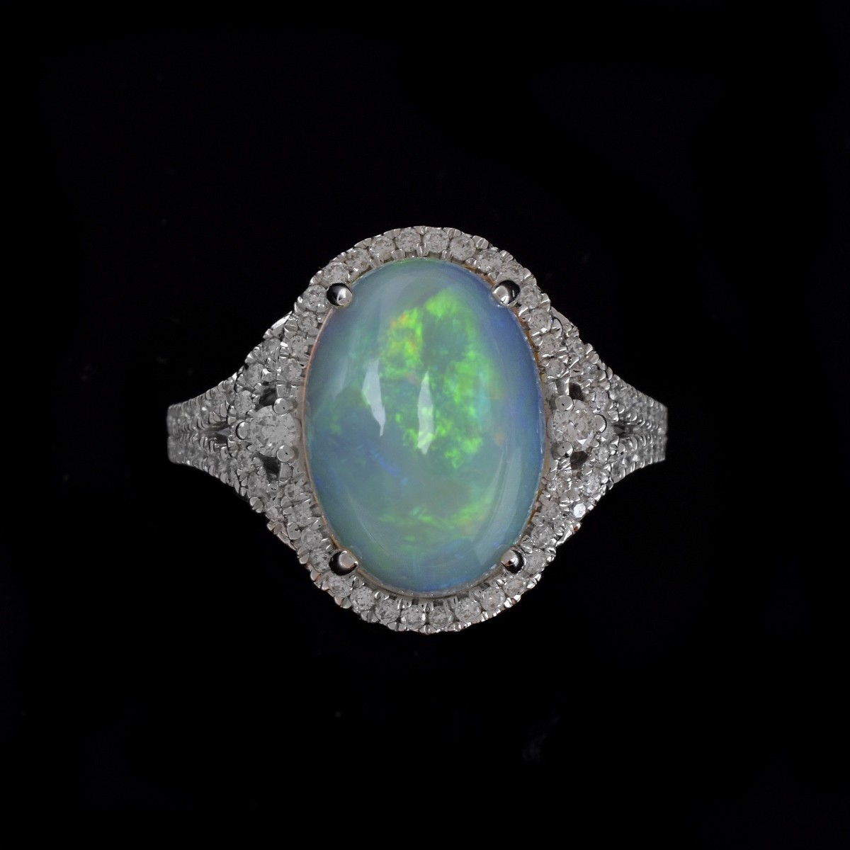 Opal, Diamond and 14K Ring