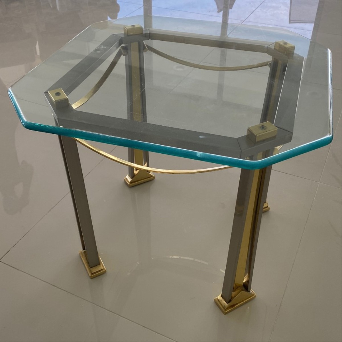Milo Baughman Style Chrome and Brass Side Table