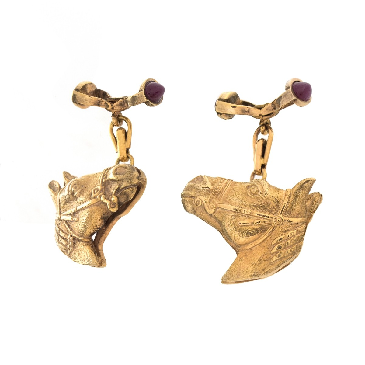 Russian Faberge 14K and Ruby Cufflinks