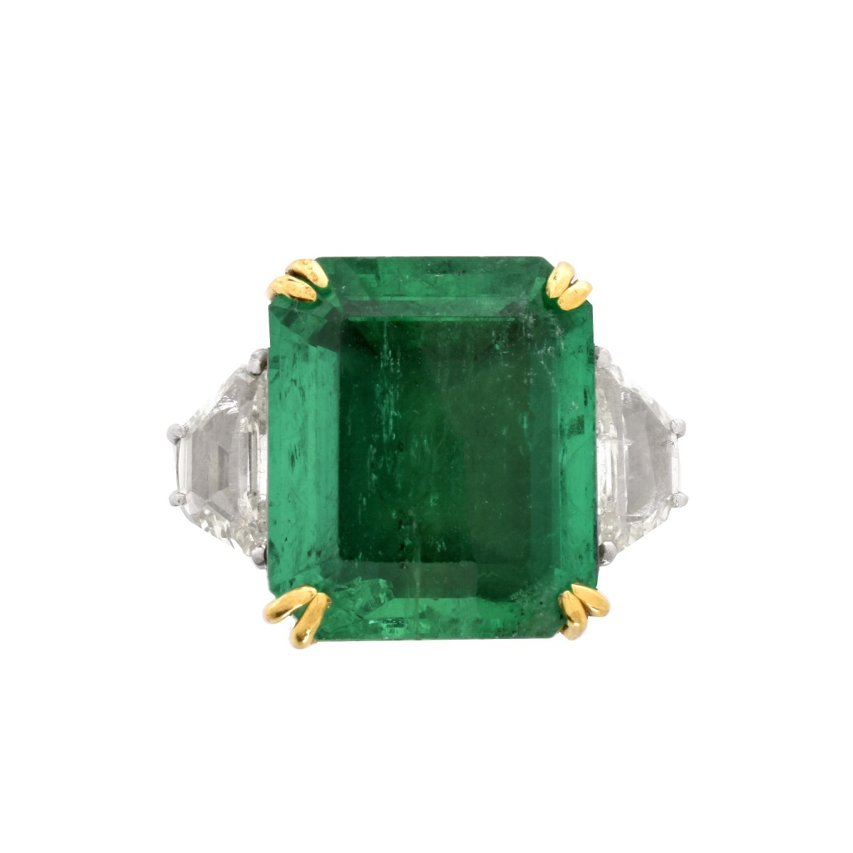 GIA Emerald, Diamond and 18K Ring