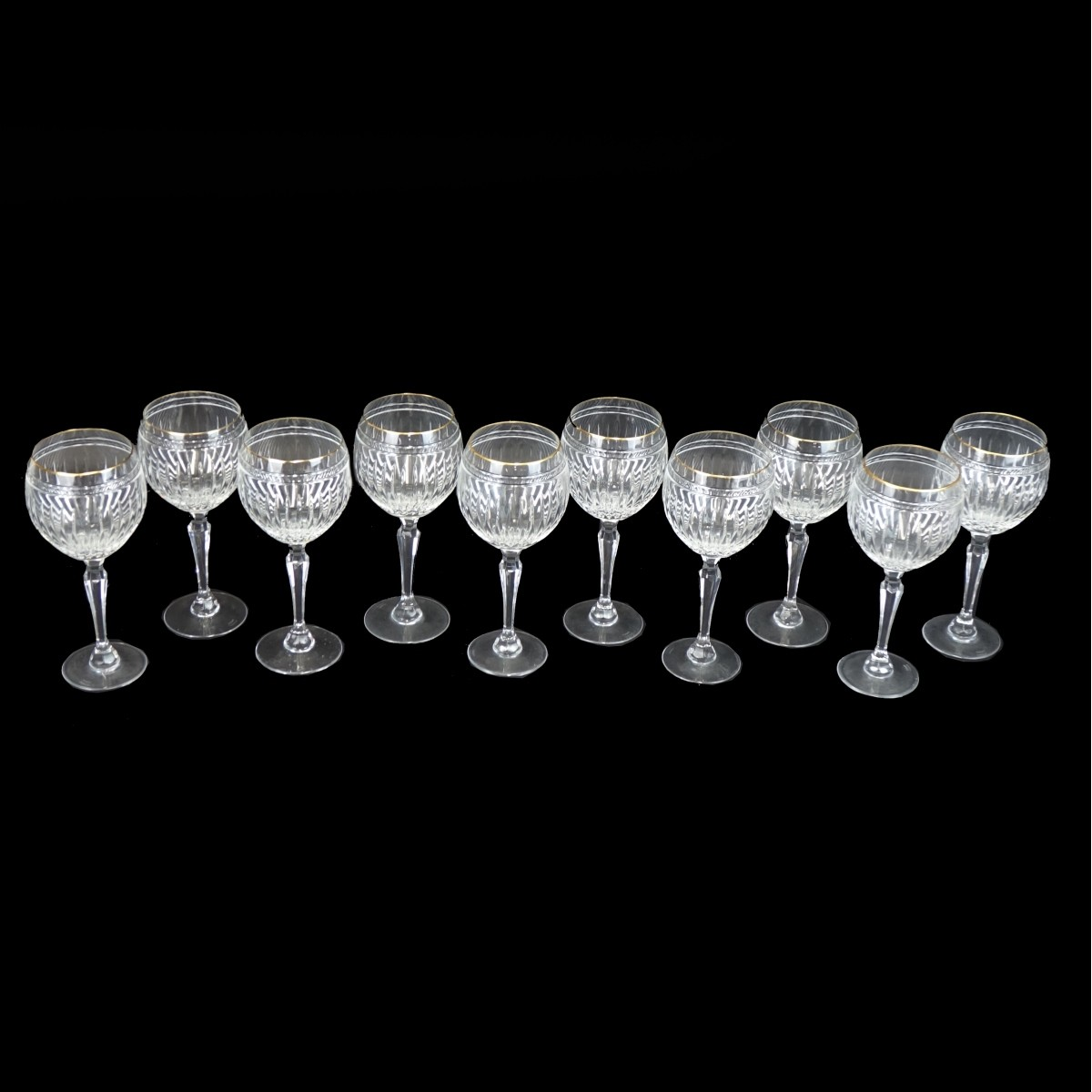 "(10) Waterford Marquis ""Hanover Gold"" Wine Glasses"
