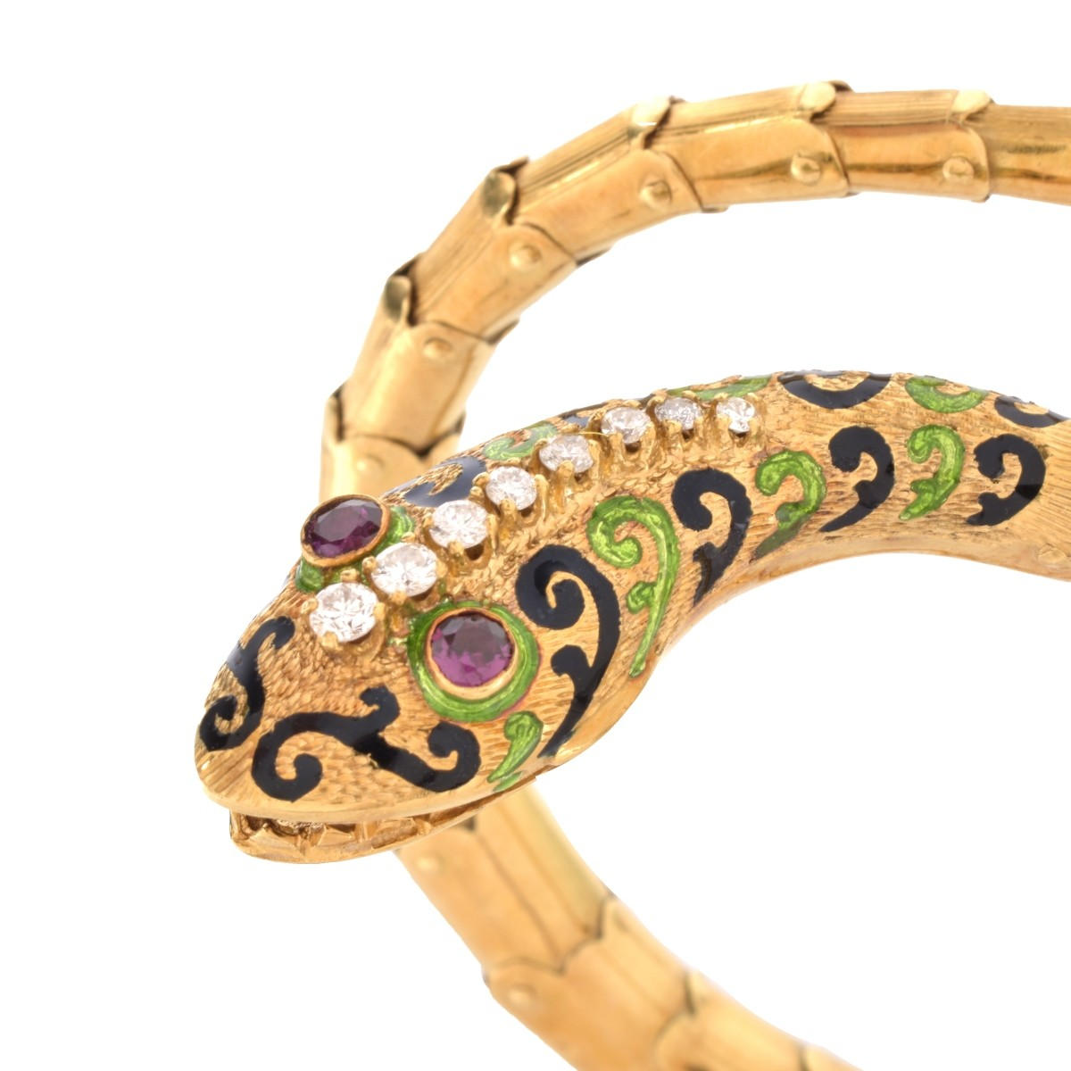 Gemstone and 18K Snake Bangle