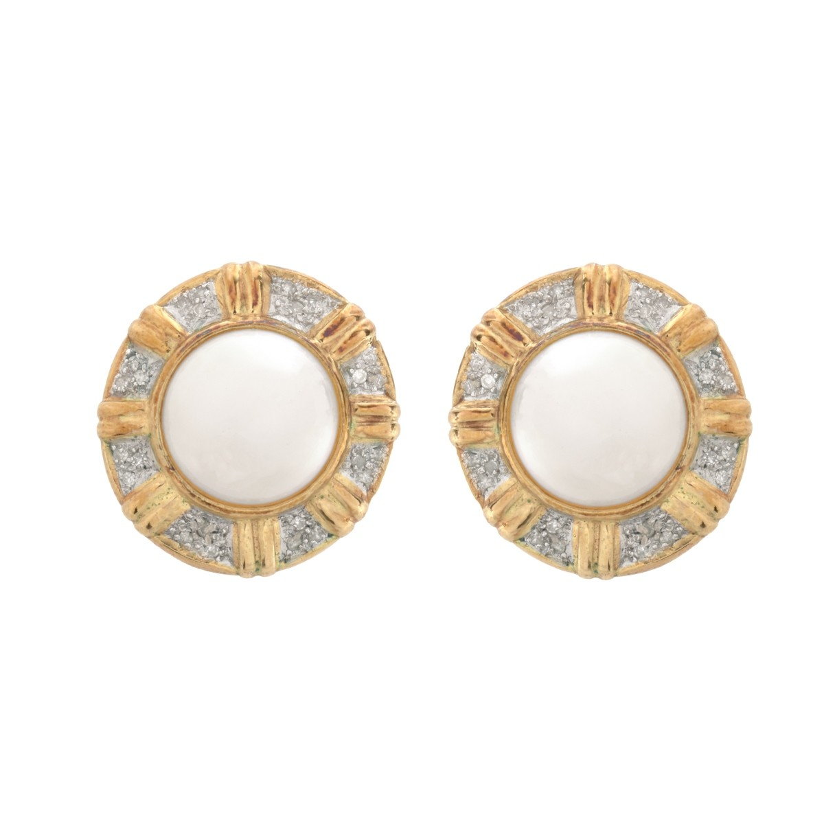Mabe Pearl, Diamond and 14K Earrings
