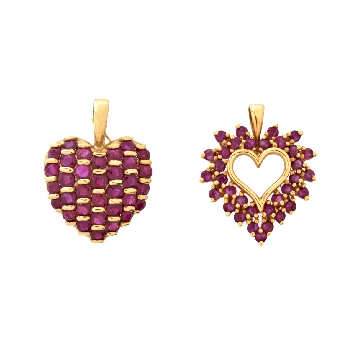 Two Ruby and 14K Heart Pendants
