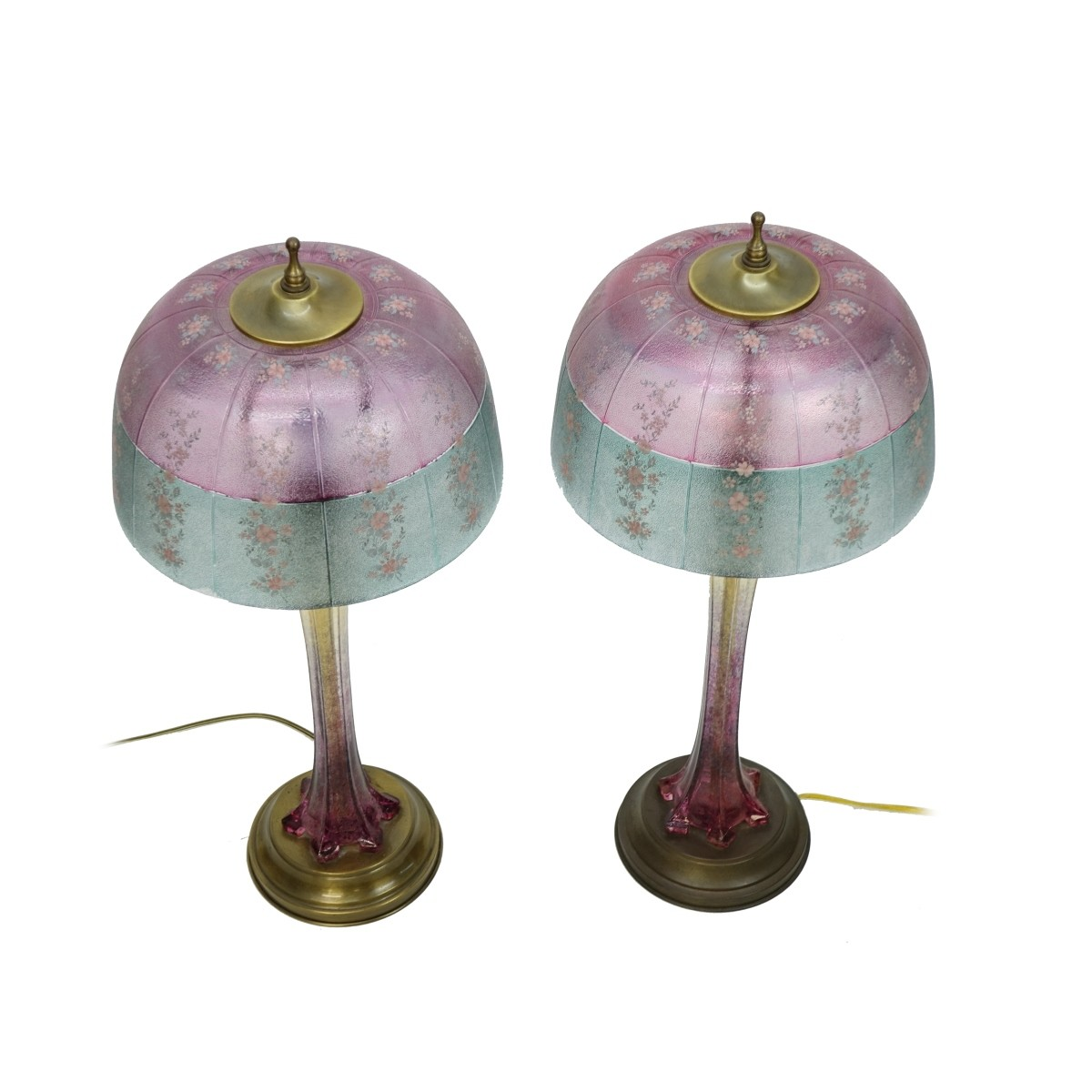 Pair of Vintage Cranberry Glass Lamps