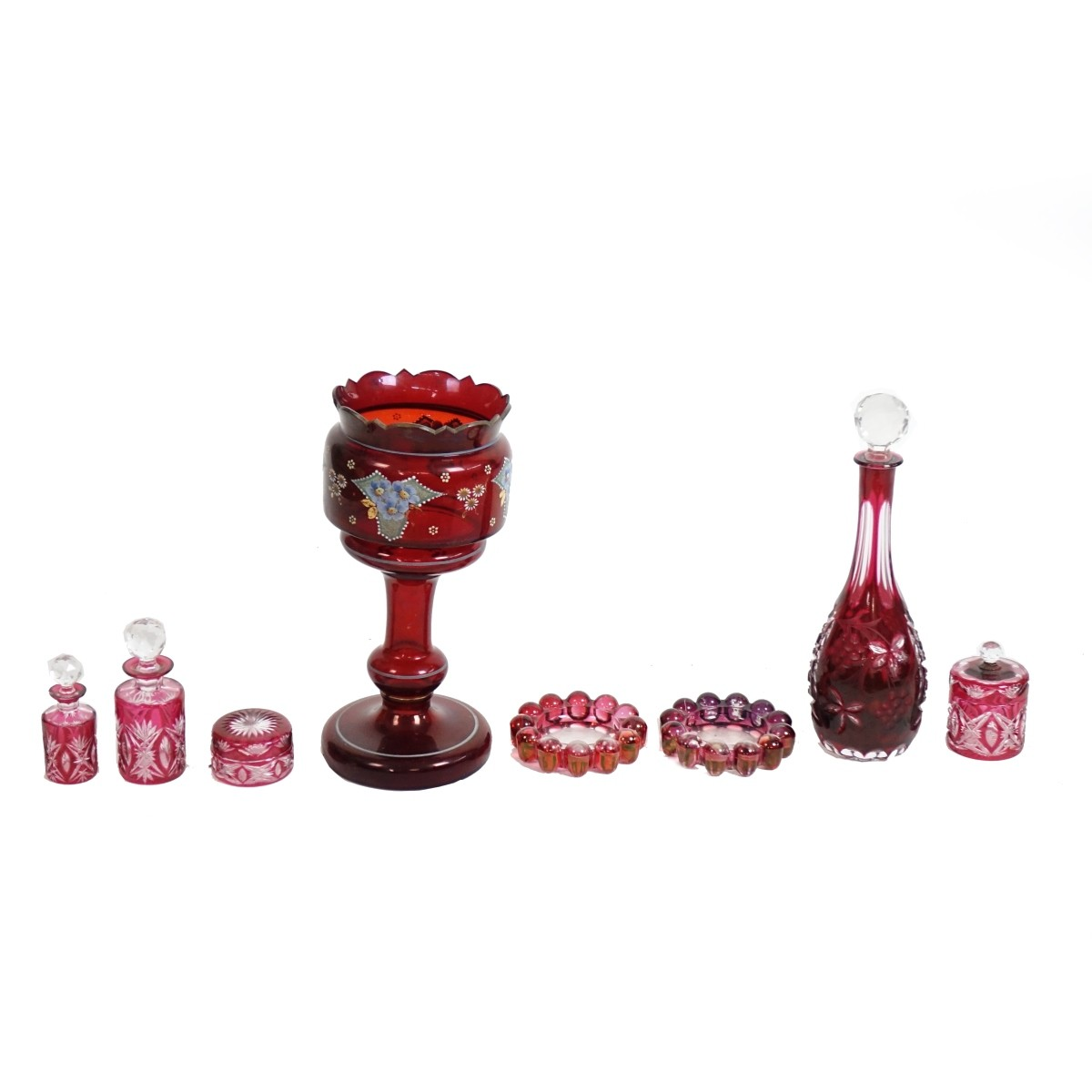 Eight (8) Vintage Cranberry Glass Tableware