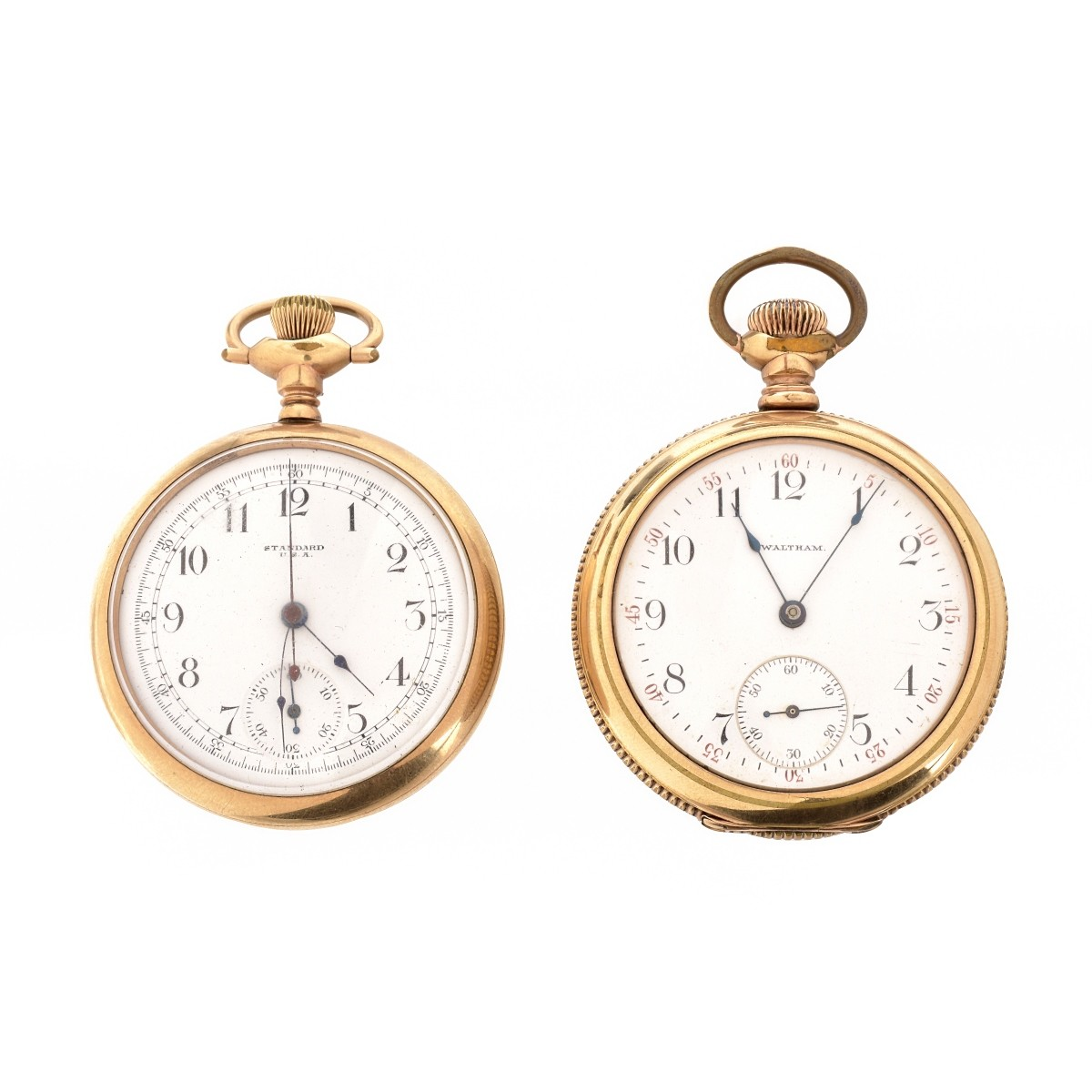 Two Gold Plate Pocket Watches