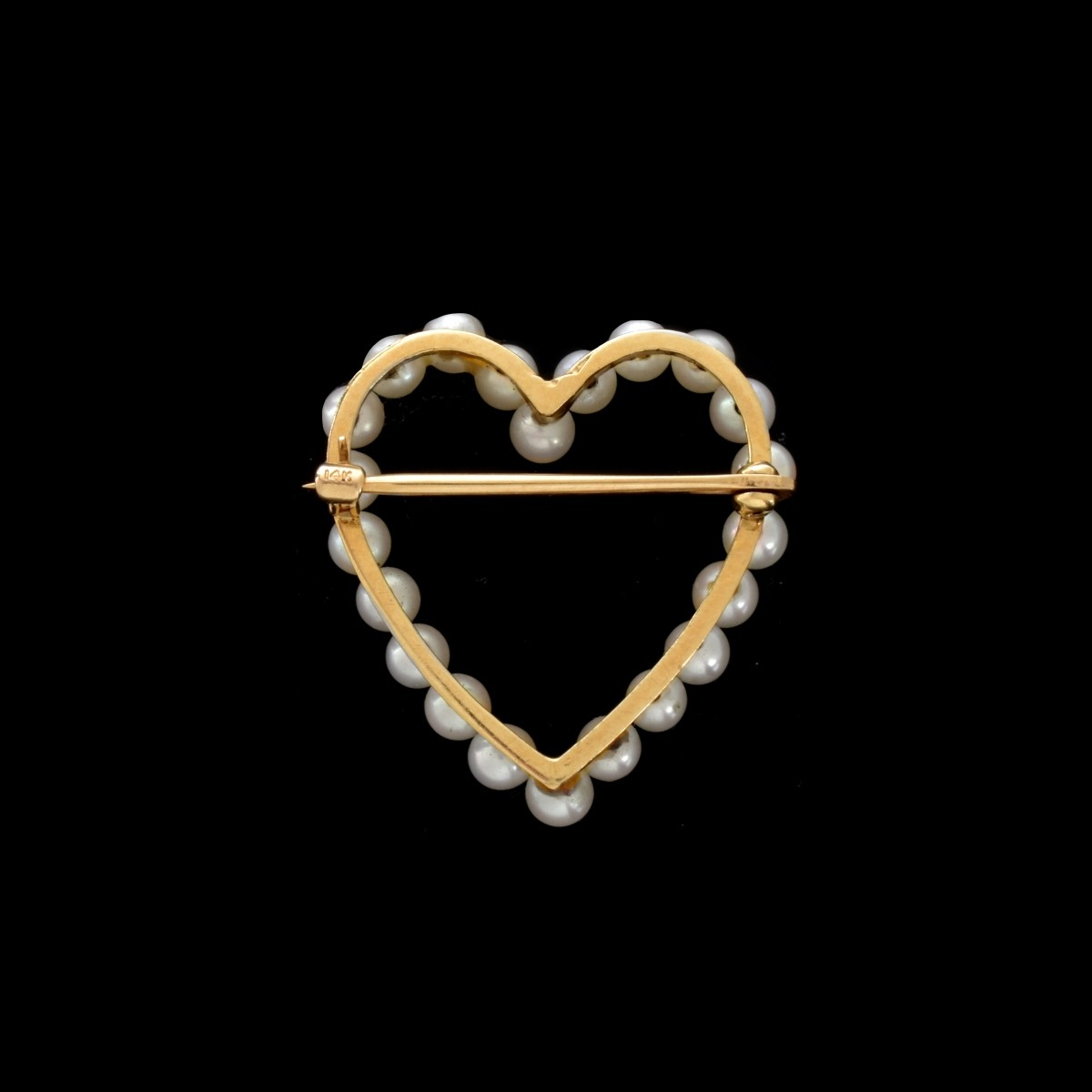 Pearl and 14K Heart Brooch