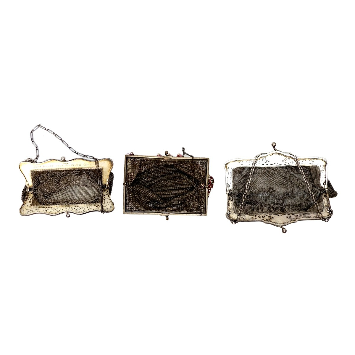 Three Antique Mesh Bags