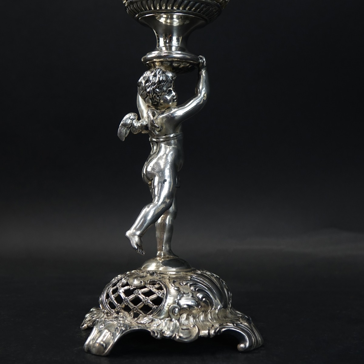 Silverplate and Etched Glass Epergne Vase