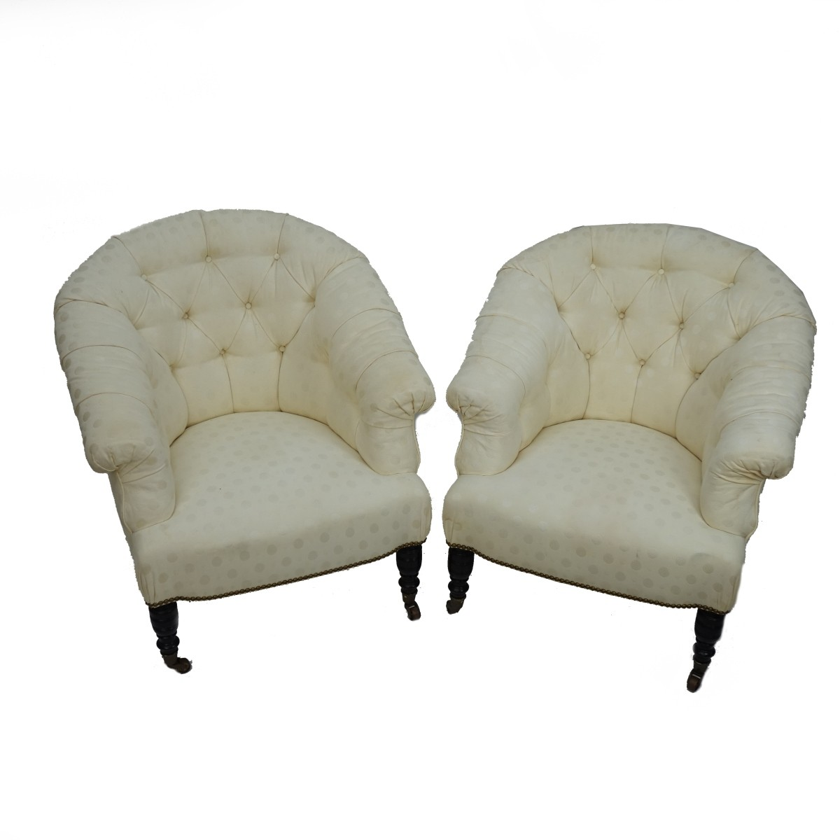 Pair of Upholstered Barrel Chairs