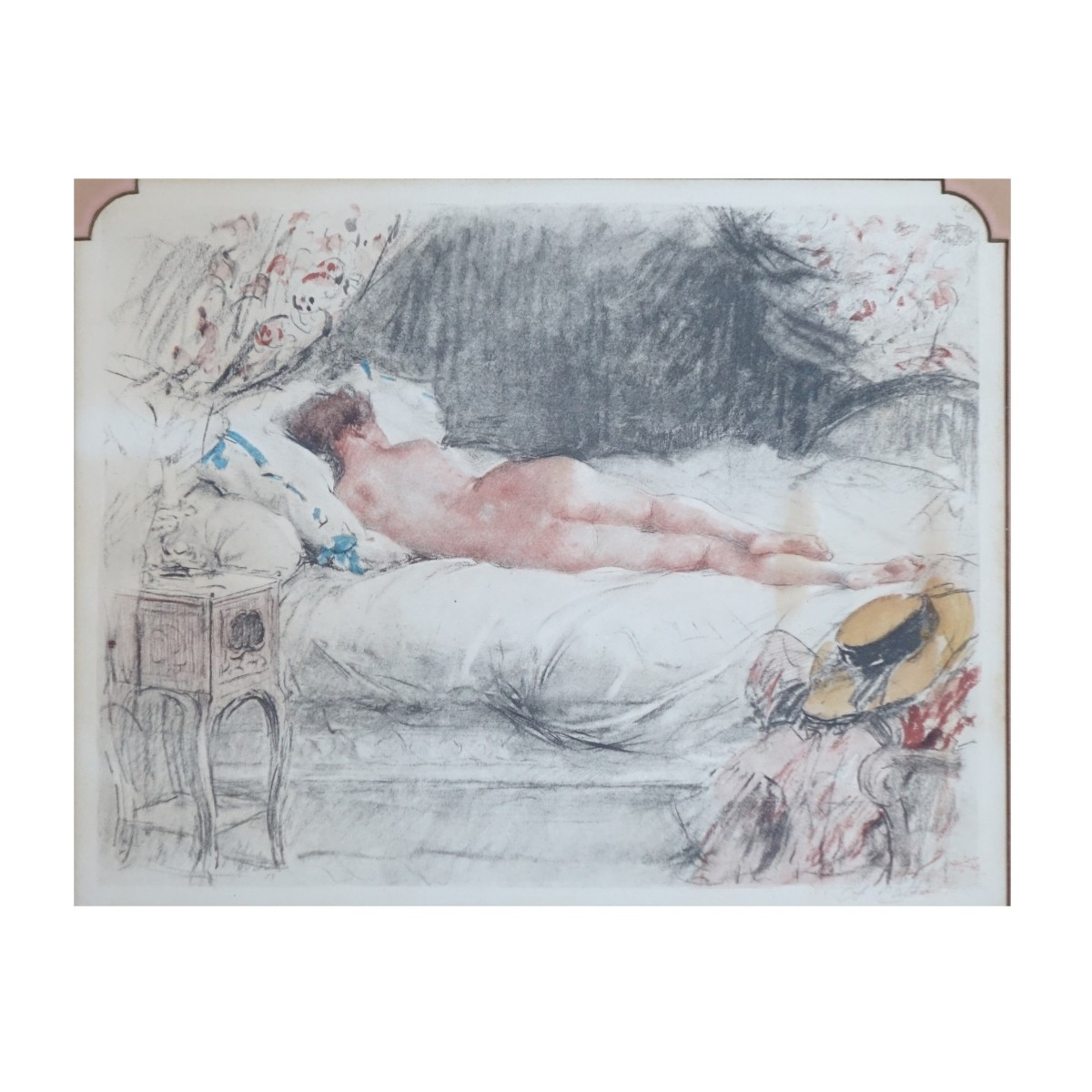 19th Cent French School Hand Colored Etching