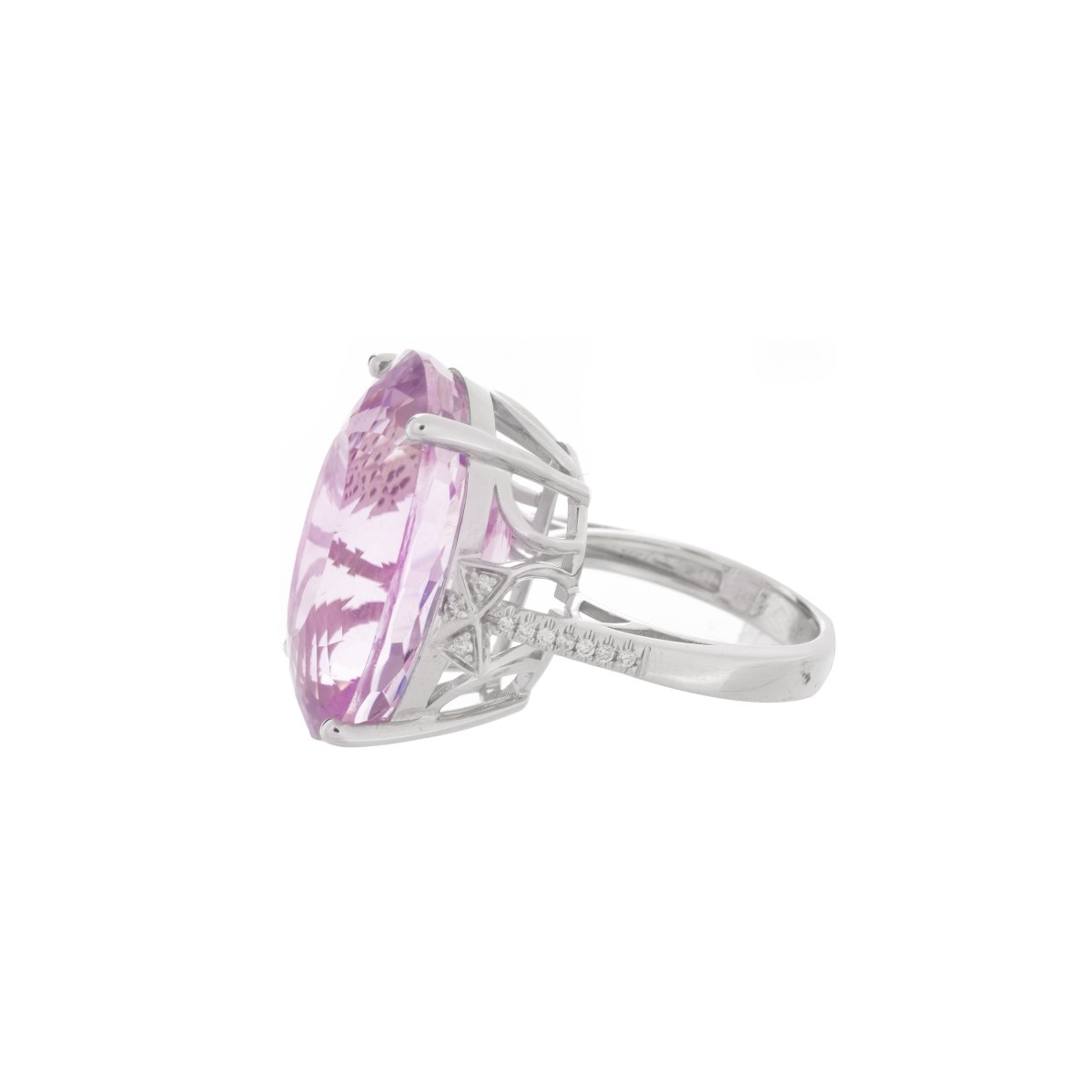 Kunzite, Diamond and 14K Ring