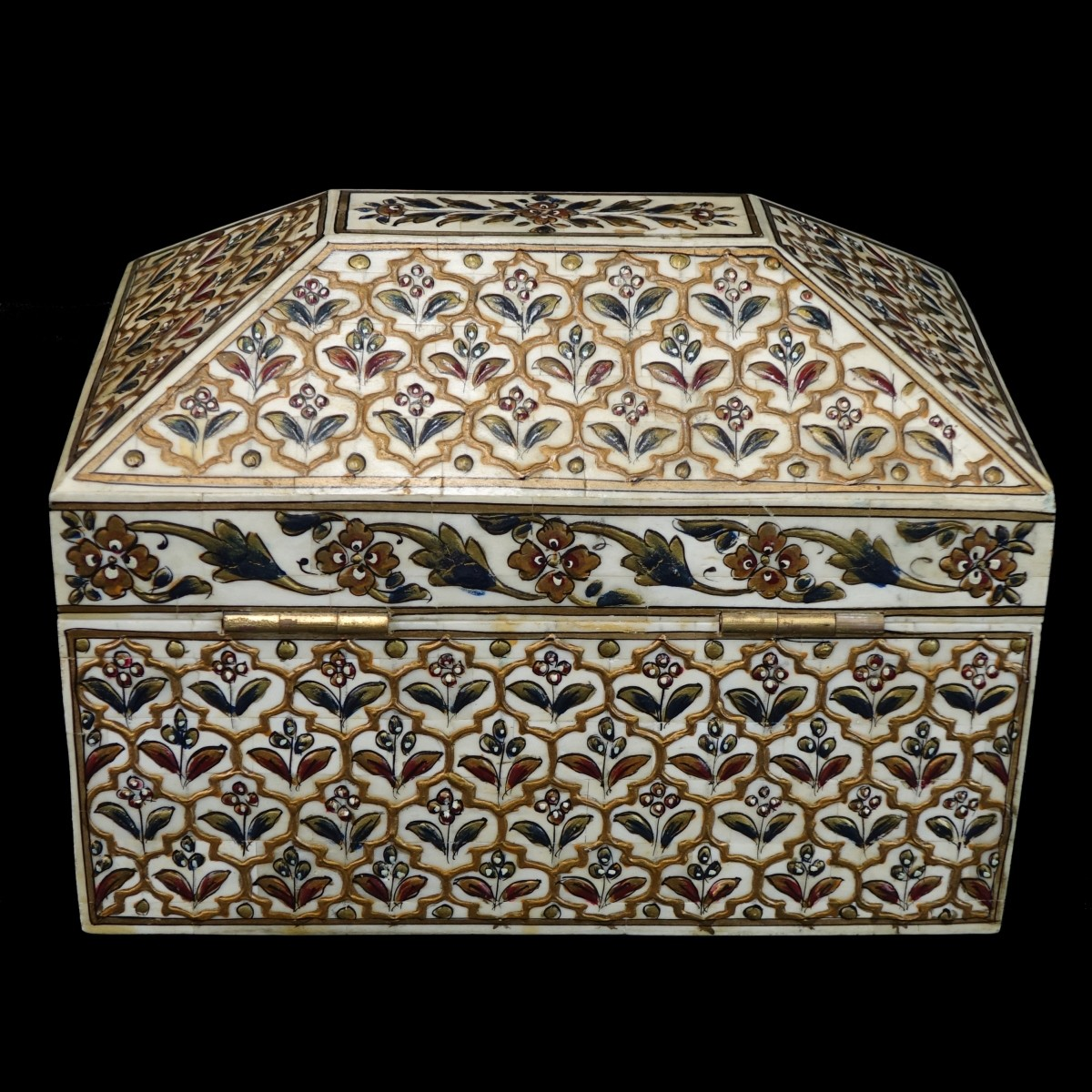 Middle Eastern Bone & Painted Jewelry Box