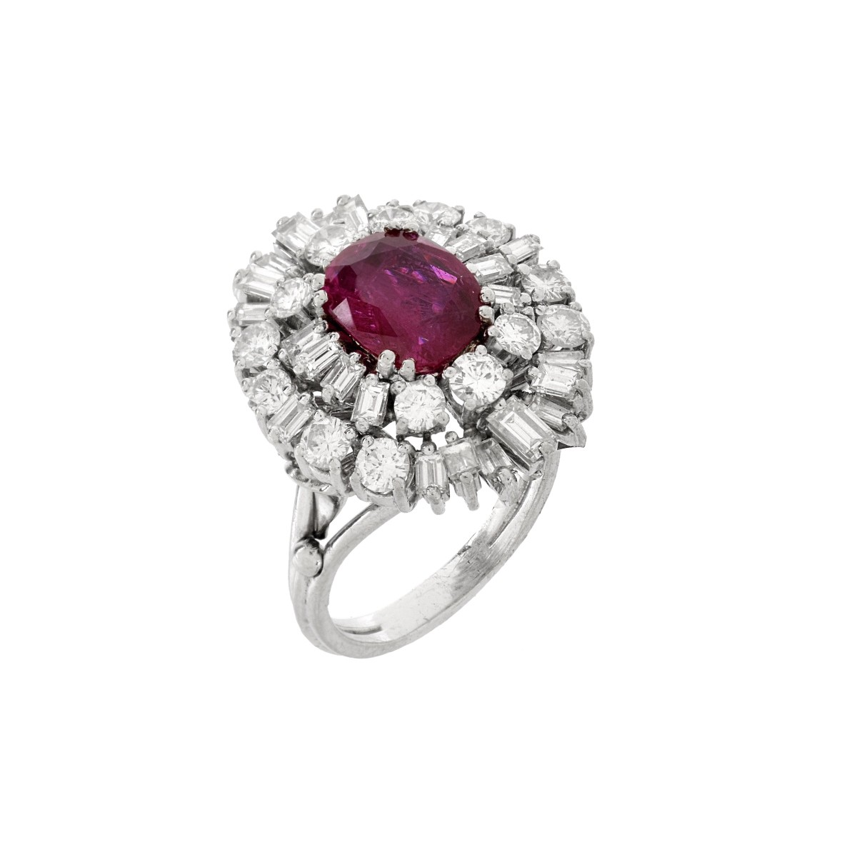 GIA Burma Ruby, Diamond and Platinum Ring