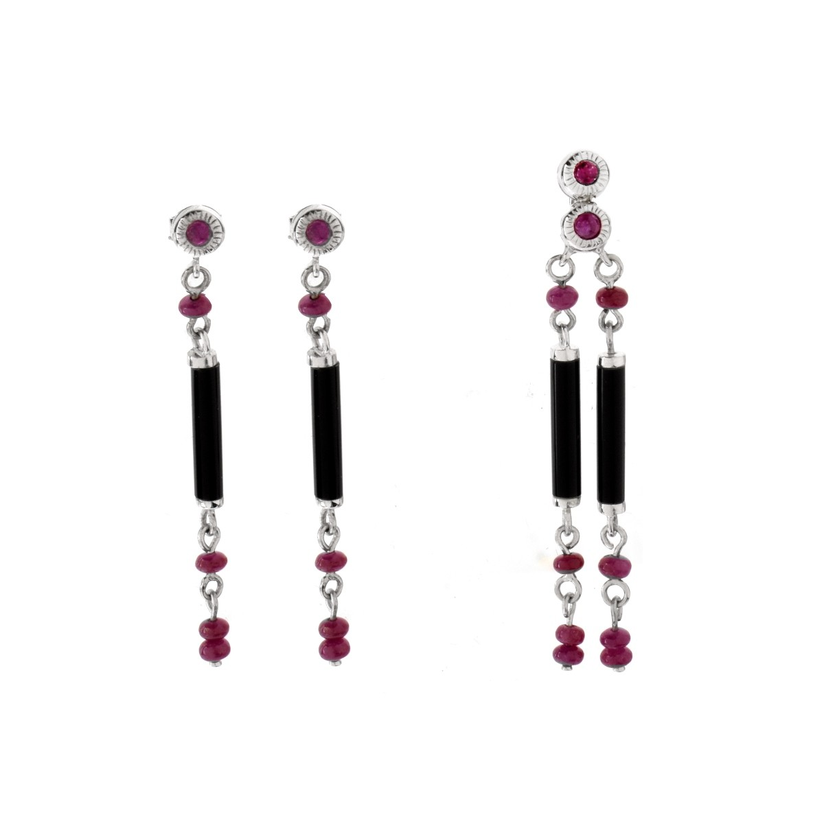 Ruby, Onyx and 18K Earrings and Pendant