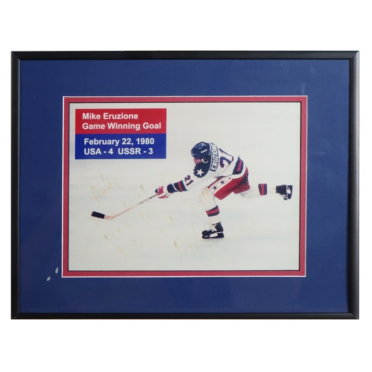 Hand Signed Mike Eruzione Photograph