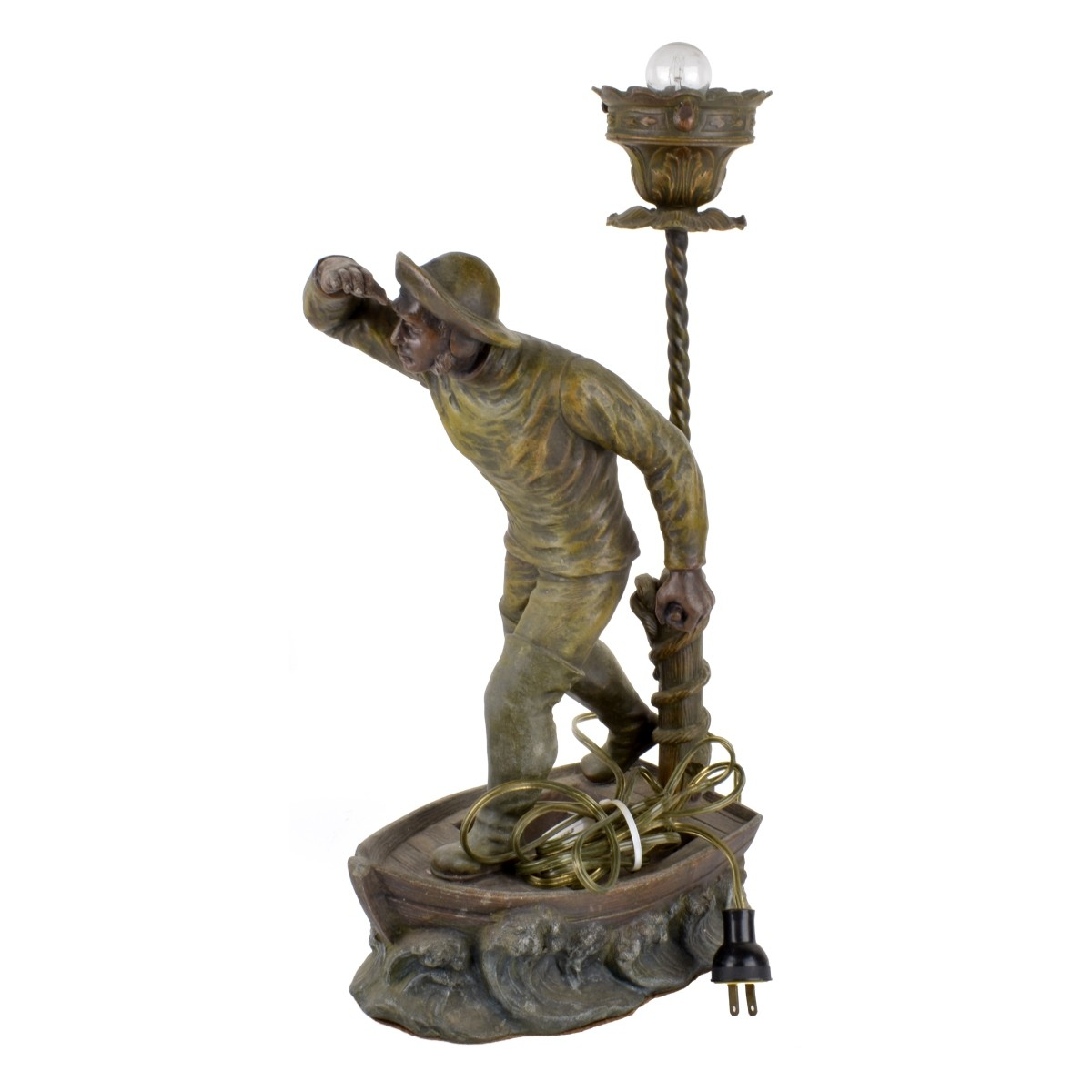 Antique French Spelter Sculpture as a Lamp