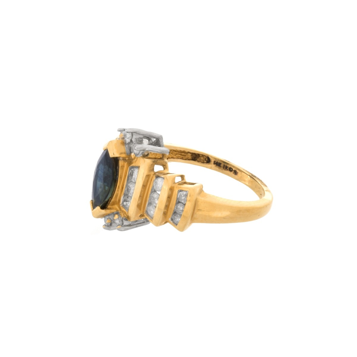 Sapphire, Diamond and 14K Ring
