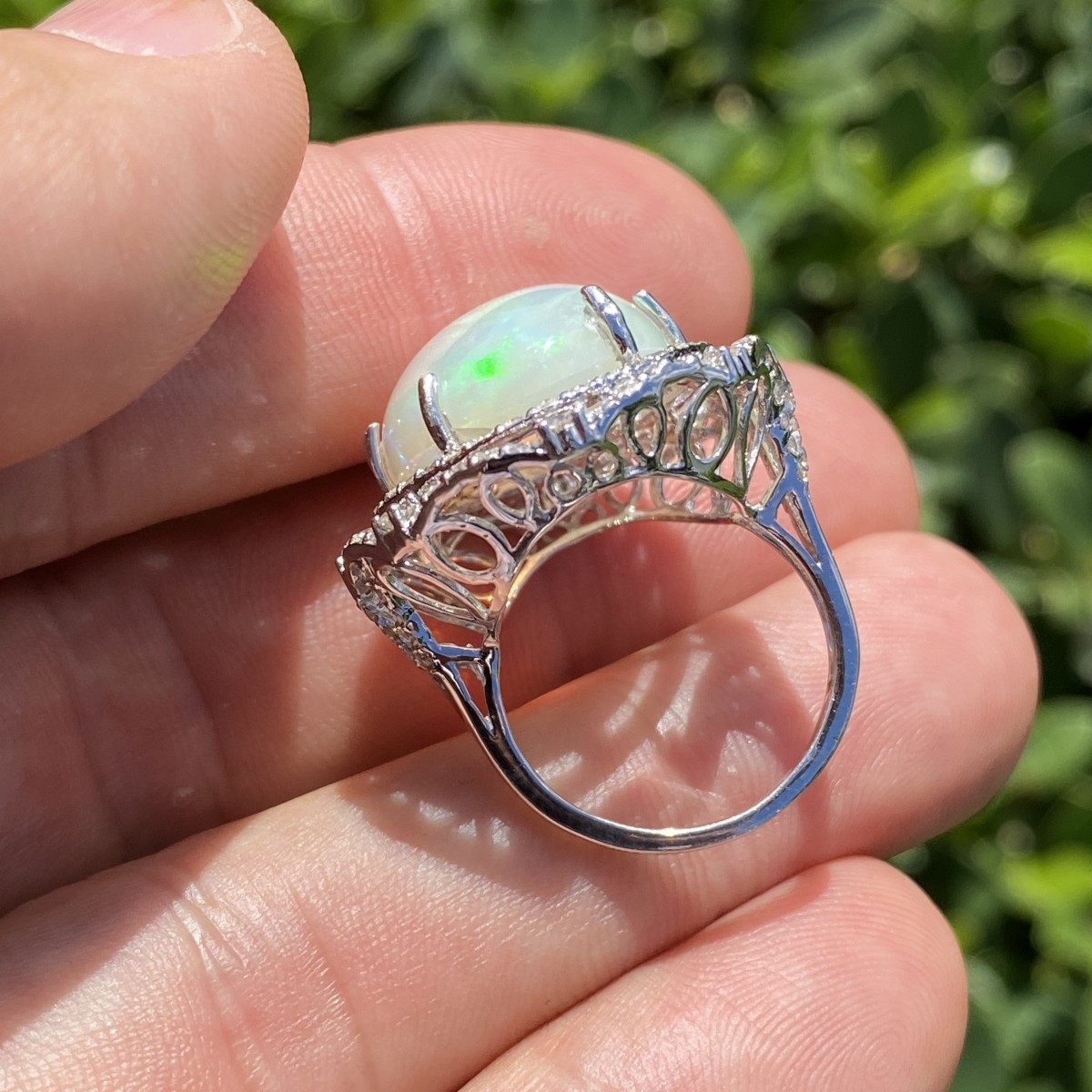 Opal, Diamond and 18K Ring