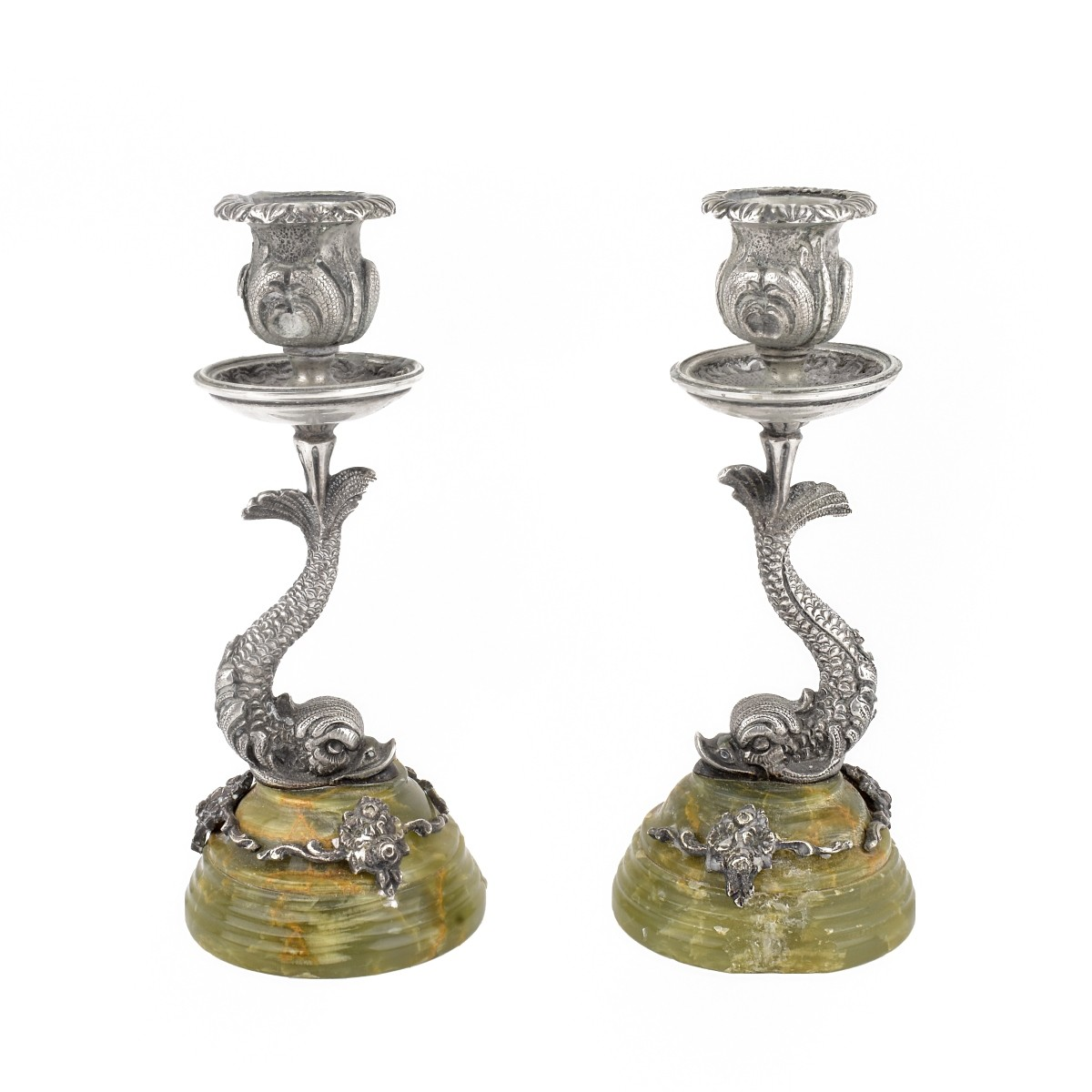 Pair of Empire Style Dolphin Candlesticks