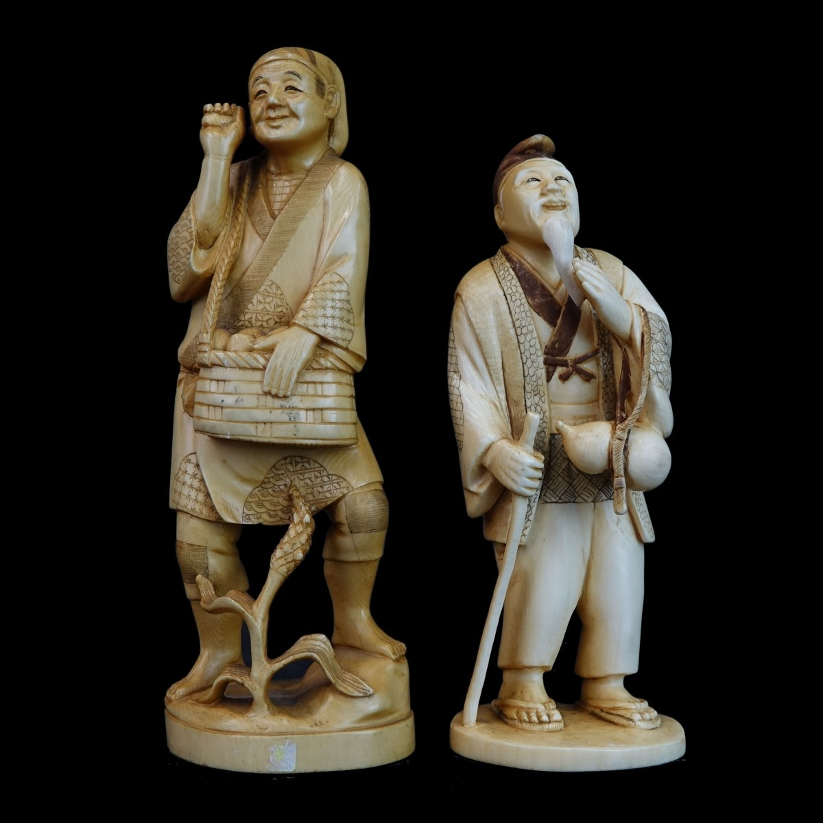 (2) Japanese Carved Figures
