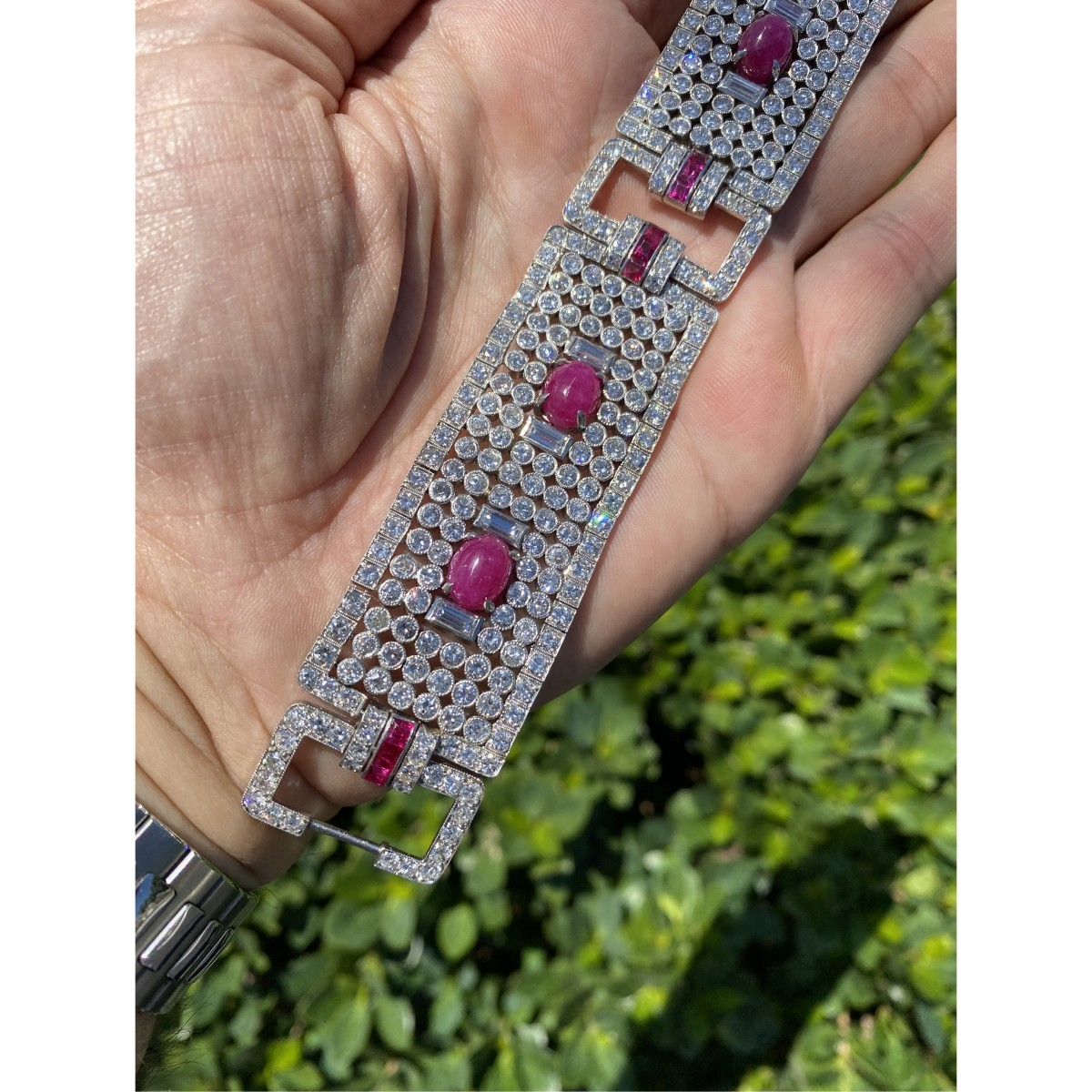 Diamond, Ruby and Platinum Wide Bracelet
