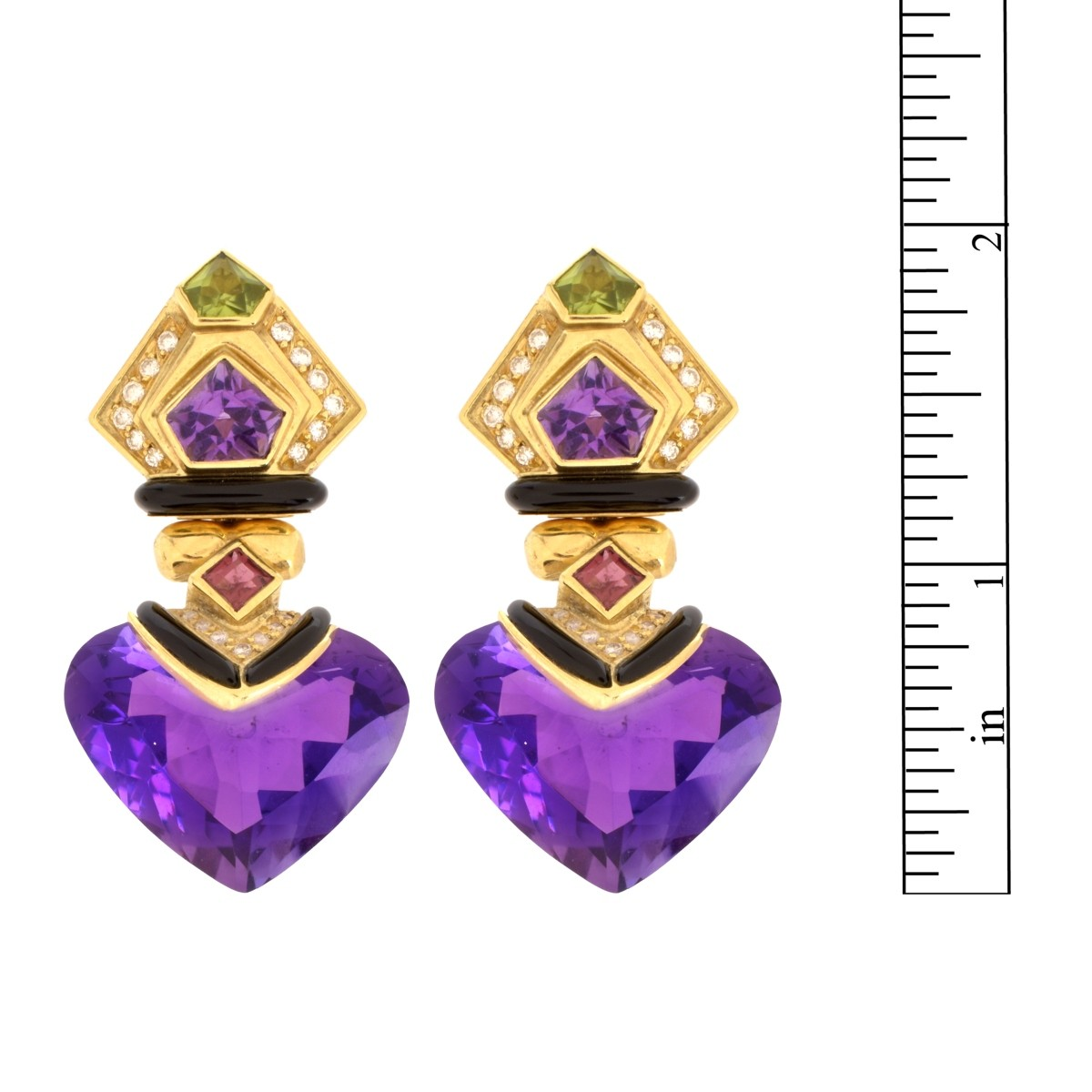 Gemstone, Diamond and 18K Earrings