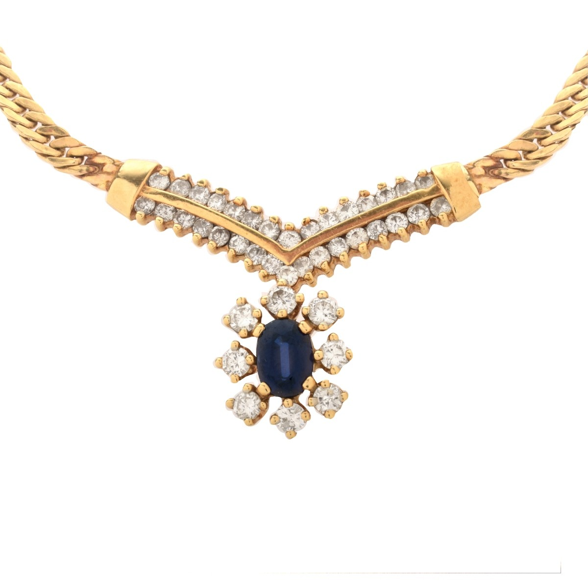 Sapphire, Diamond and 14K Necklace
