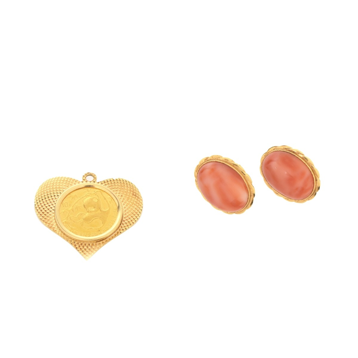 10 Yuan Coin Pendant and Coral 14K Earrings