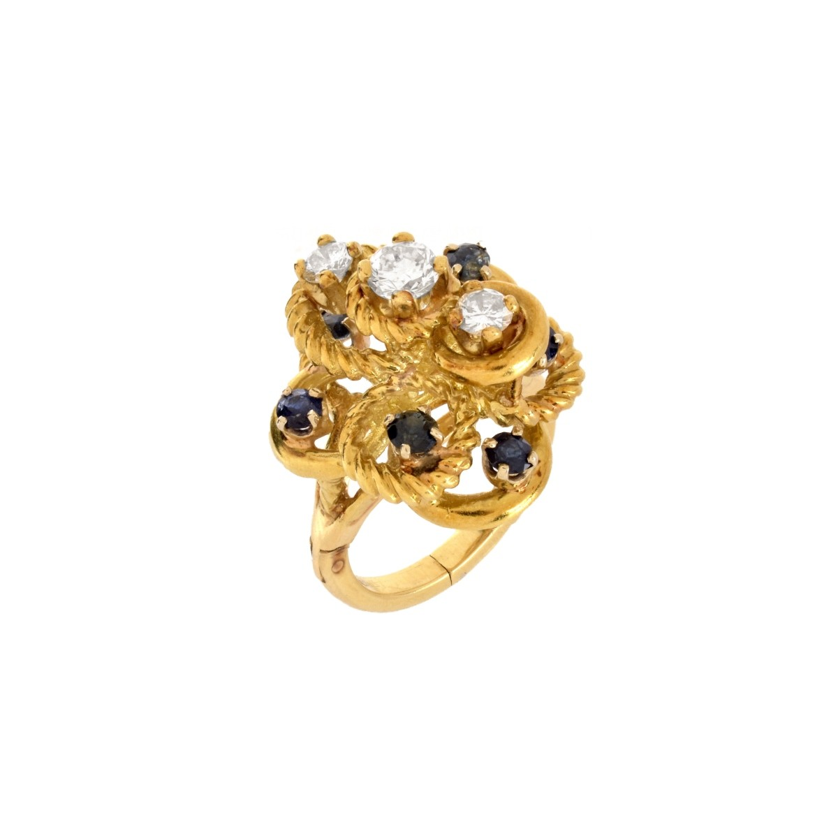 Diamond, Sapphire and 14K Ring