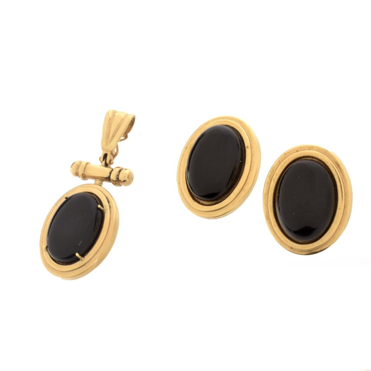Onyx and 14K Earrings and Pendant