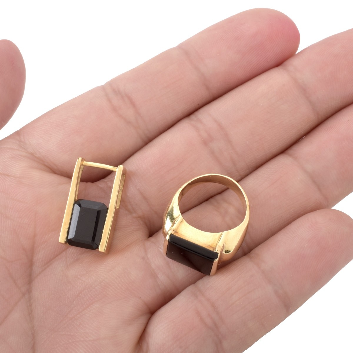 Onyx and 14K Ring and Pendant