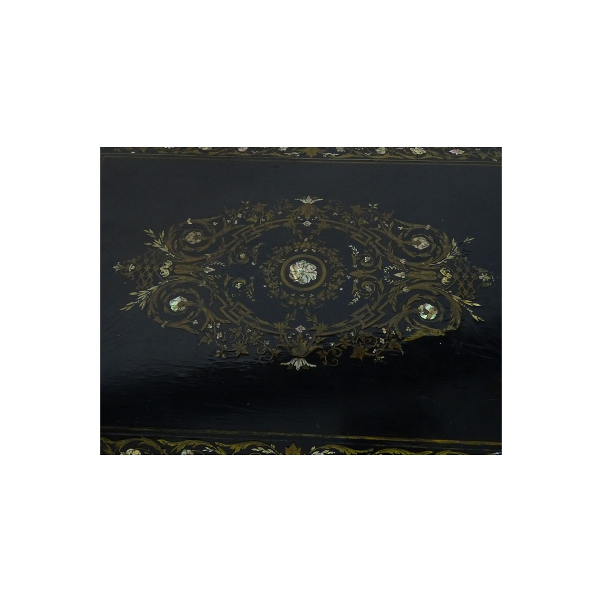 Gilt Bronze 1860' Mother of Pearl & Ebonized Table