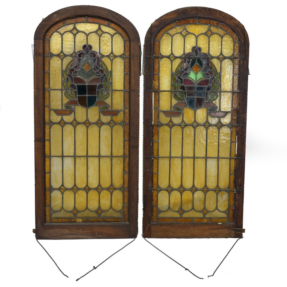 Pair of Antique Leaded Glass Panels