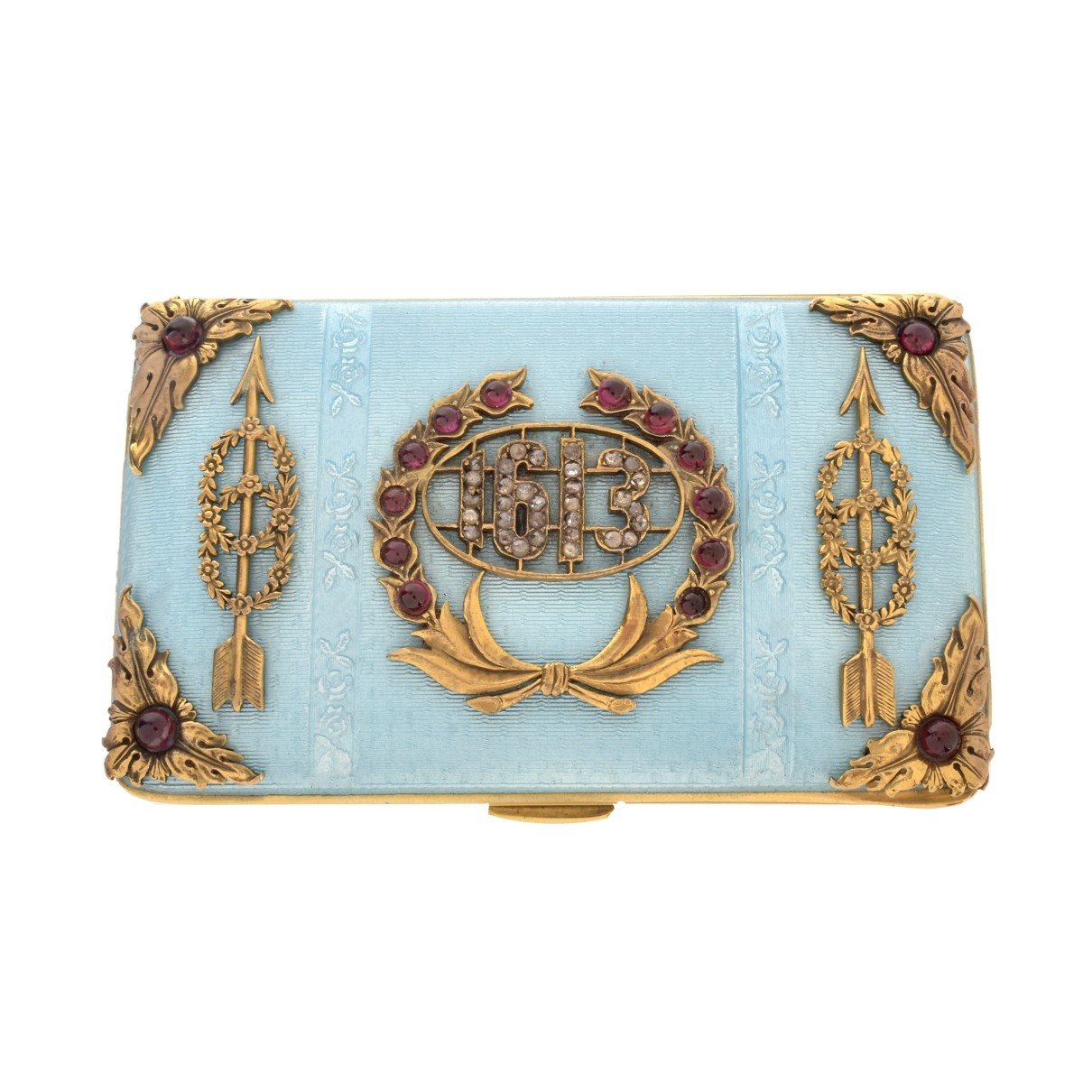 Russian Enamel, Silver and Gemstone Case