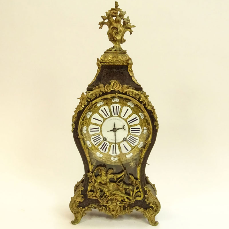 French 18th Century Bracket Clock. Figural bronze mounted, inlaid, porcelain dial, silk suspension