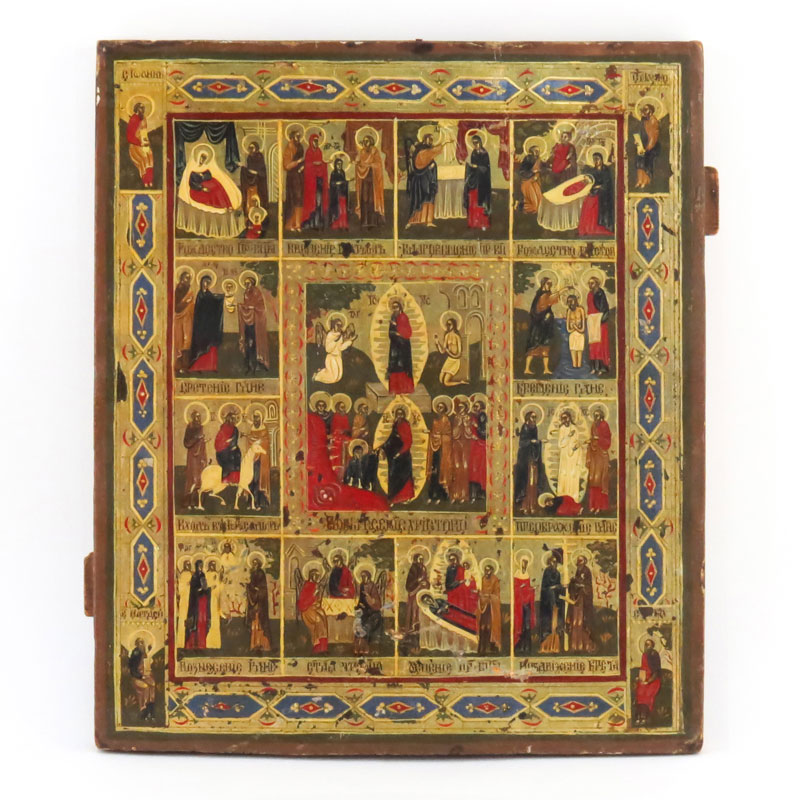 19th Century Russian Painted and Parcel Gilt Icon on Cradled Panel.
