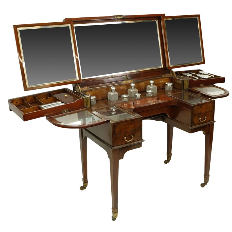 Attributed to: George Betjeman & Sons Circa 1910 Edwardian Mahogany Enclosed Dressing Table