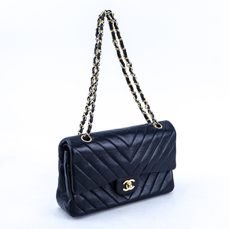 Chanel Black Quilted Chevron Motif Leather Double Flap Bag