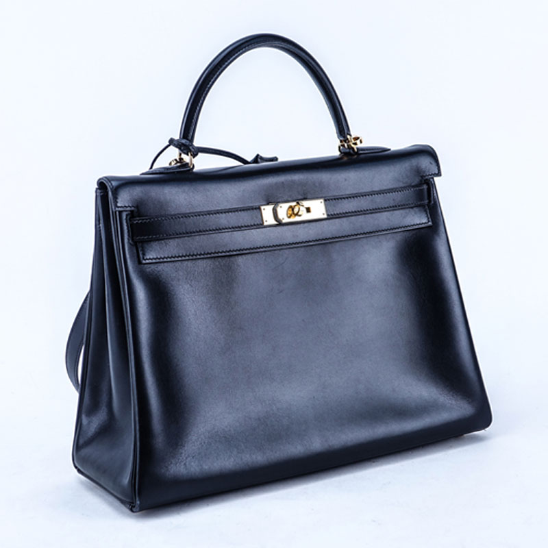 Hermes Black Kelly Retourne 35 Smooth Calf Leather Bag