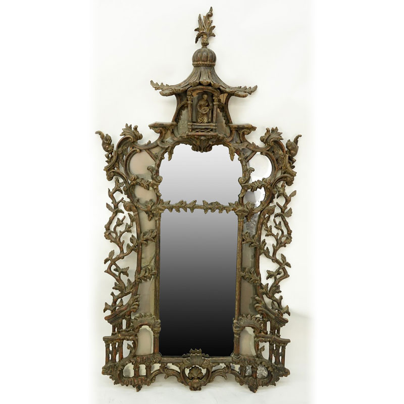 Impressive Large 19/20th Century Carved Wood Chinoiserie Pagoda Mirror