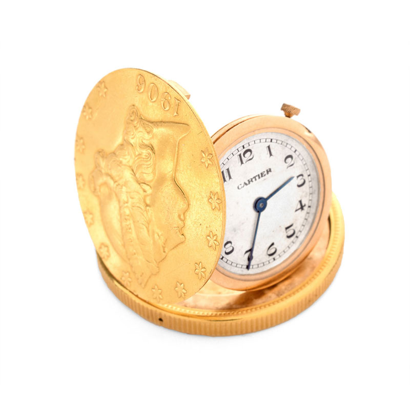 Rare and Very Fine Vintage Cartier 1906 US $20 Liberty Head Gold Coin Watch