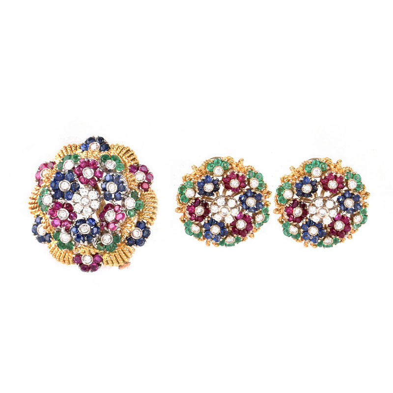 Vintage Italian Lunati Diamond, Emerald, Sapphire, Ruby and 18 Karat Yellow Gold Brooch and Earring Suite en tremblant