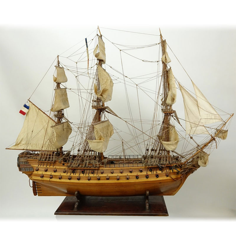 Antique French Wood Model Sailing Ship On Figural Stand