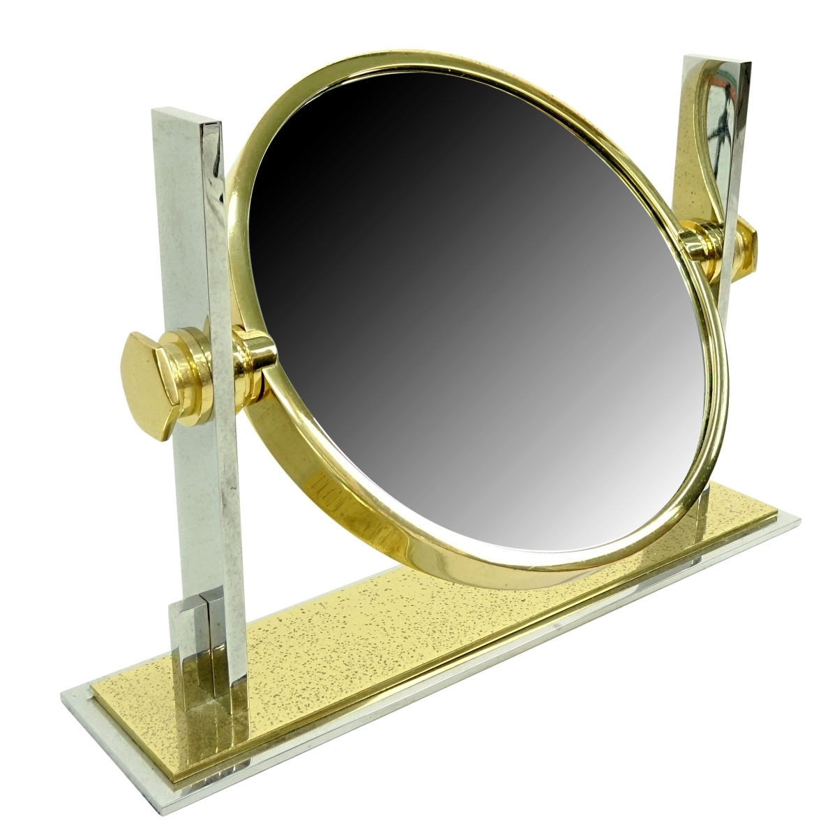 Karl Springer Steel And Brass Vanity Mirror