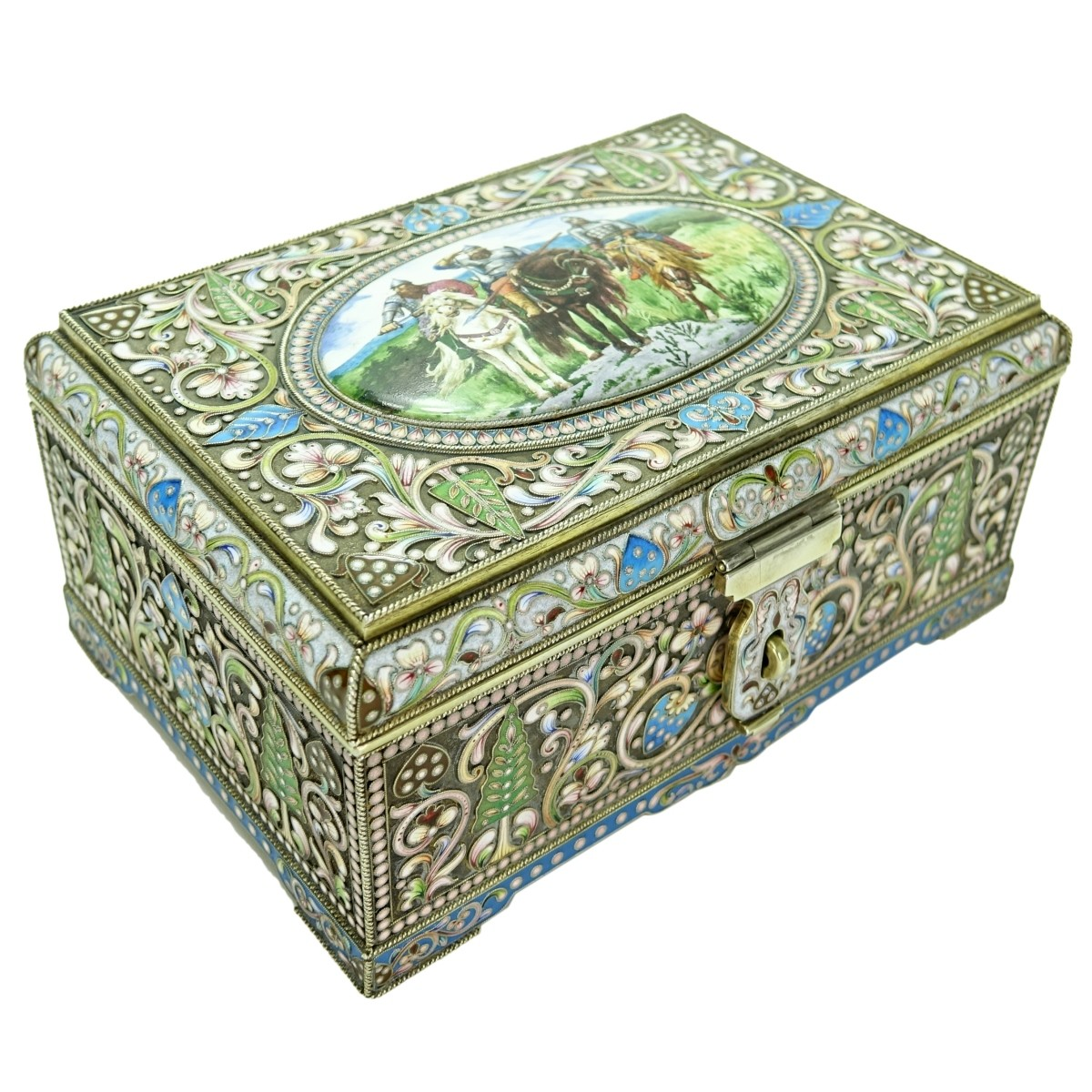 Large Russian Silver Gilt Enamel Box